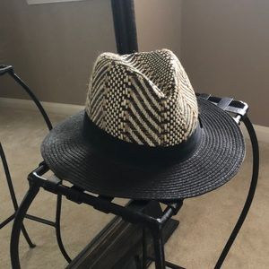 Black with beige fedora style hat